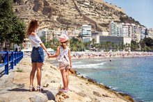 Mother And Daughter In Alicante City. Spain