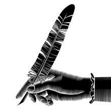 Black Silhouette Of Female Hand With A Pen