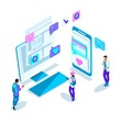 Isometrics young people, communication on the Internet with different people, correspondence, acquaintance through the Internet. Bright holographic design