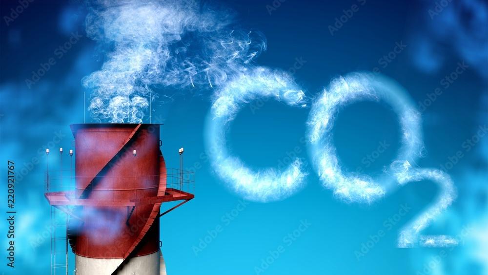 Fototapeta Smoke stack producing carbon dioxide - global warming/pollution
