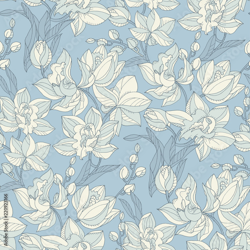 Fotobehang Vintage Bloemen Tropical seamless pattern with tender orchid flowers