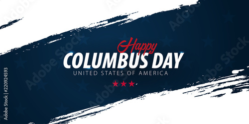 Columbus Day sale promotion, advertising, poster, banner, template with American flag Poster Mural XXL
