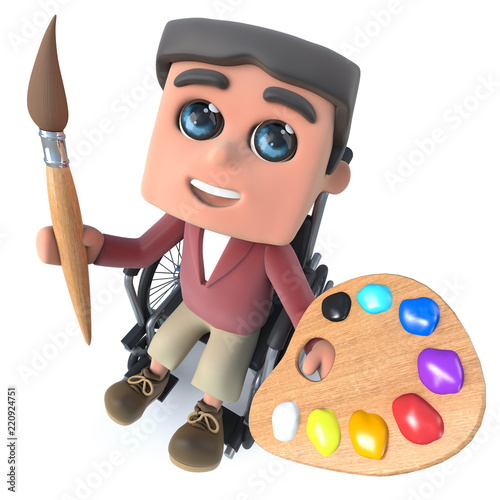 Foto  3d Cartoon boy in wheelchair holding an artist paint brush and palette