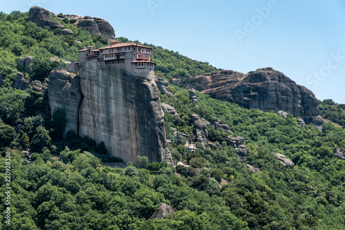 Tuinposter Khaki Meteors or Meteora Monastery of Varlaam, Thessaly, Greece