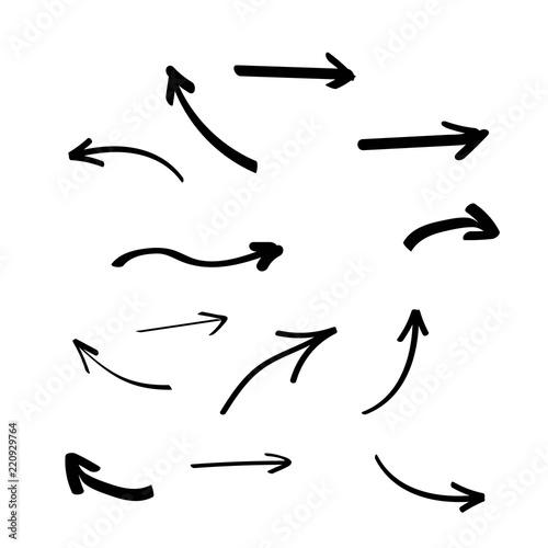Fototapeta Set of hand drawn arrows. Arrows doodle set