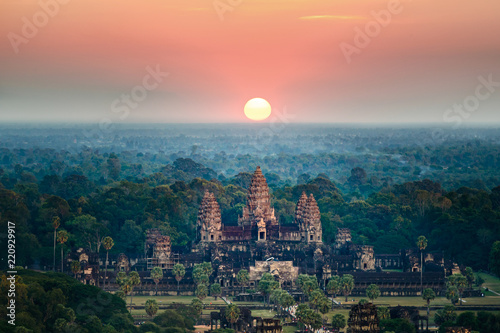 Poster Buddha Beautiful aerial view of Angkor Wat at sunrise-Siem reap- Cambodia.