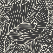 Linear Engraving Banana Leaves Seamless Pattern, Repeating Floral Pattern