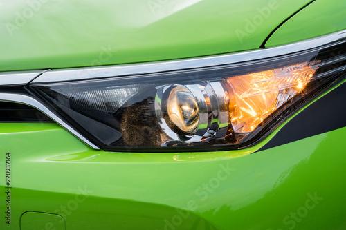 Front headlight on a modern green car. Wallpaper Mural