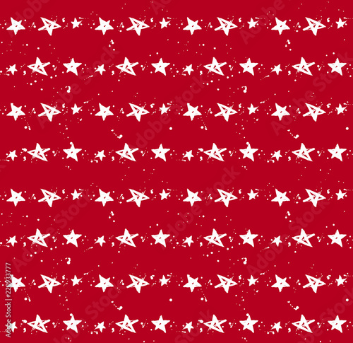 Photo  Red and white hand drawn stars and drops seamless pattern