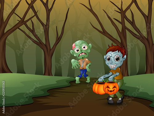 Recess Fitting Ladybugs Zombie cartoon spooky in the halloween day