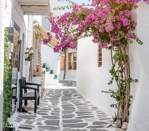 Fototapeta Narrow street with white houses, Greece obraz