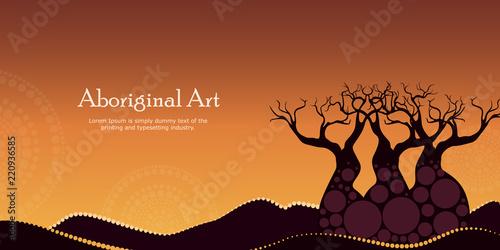 Valokuva  Aboriginal art landscapes vector banner background