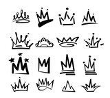 Fototapeta Młodzieżowe - Crown logo graffiti icon. Black elements isolated on white background. Vector illustration.Queen royal princess.Black brush line.hipster style. Doodle hand drawn crown set.