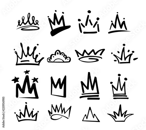 Photo sur Plexiglas Graffiti Crown logo graffiti icon. Black elements isolated on white background. Vector illustration.Queen royal princess.Black brush line.hipster style. Doodle hand drawn crown set.
