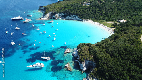 Poster Turquoise Aerial drone bird's eye view photo of iconic tropical paradise beaches of Voutoumi and Vrika with turquoise clear sea, Antipaxos island, Ionian, Greece