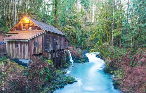 scene of the Cedar creek grist mill in the morning,Washington,usa Wallpaper Mural