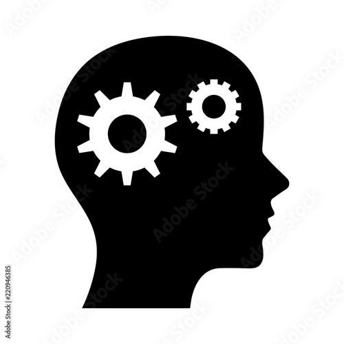 Simple, flat, black silhouette profile head thinking illustration Fototapet