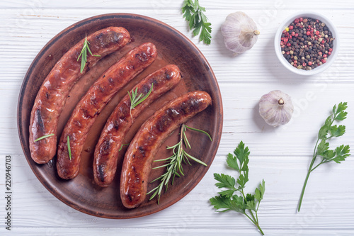 Grilled sauusages on a plate