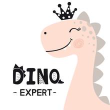 Dinosaur Baby Girl Cute Print. Sweet Princess With Crown. Dino Expert Slogan.
