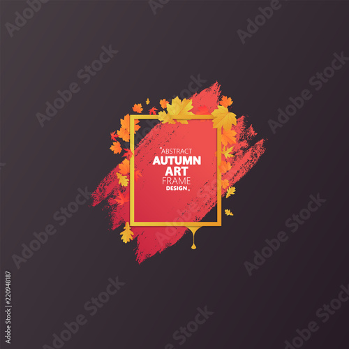 Fotografie, Obraz  Autumn abstract frame layout decorate with leaves for shopping sale or promo poster and frame leaflet or web banner
