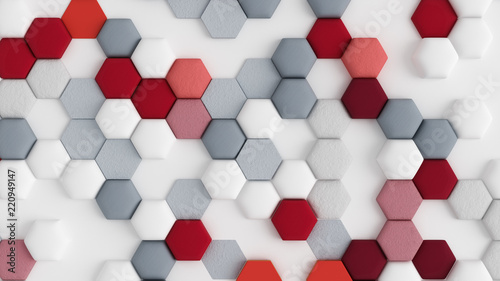 Obrazy czerwone  red-white-abstract-background-with-hexagons-3d-illustration-3d-rendering