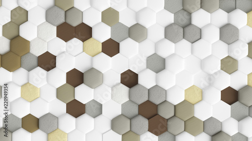 Yellow beige abstract background with hexagons. 3d illustration, 3d rendering.