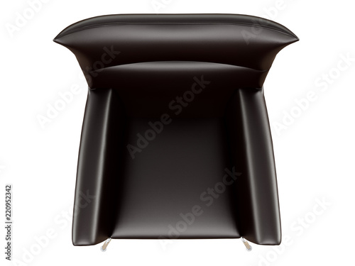 Black leather armchair on a white background top view 3d ...