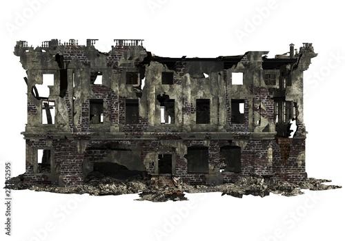 Canvastavla Ruined Building Isolated On White 3D Illustration