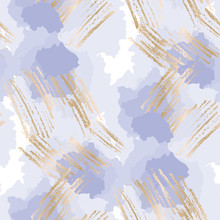 Pastel Blue And Gold Abstract Shapes Seamless Pattern