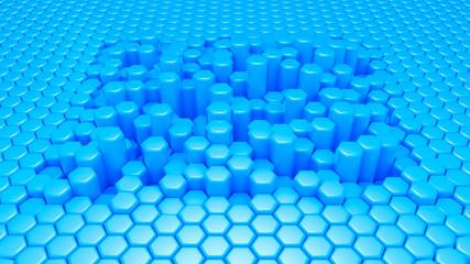 Blue hexagon background. 3d illustration, 3d rendering.