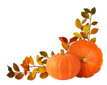 Two Orange Pumpkins And Autumn Twigs With Colorful Leaves In Corner Arrangement