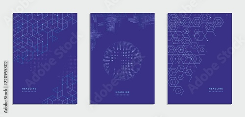 Obraz Abstract geometric technological brochure, flyer. Corporate identity. - fototapety do salonu
