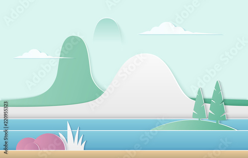 Vector trendy gradient color nature illustration. Mountains with river, pine trees and bushes paper cut landscape.