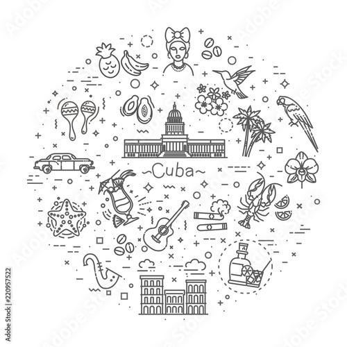 Cuba icon set Fototapeta