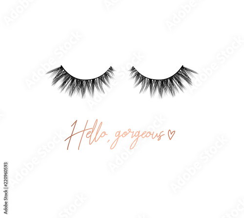 Canvas-taulu Hello gorgeous lashes inspirational design with lettering and eyelashes