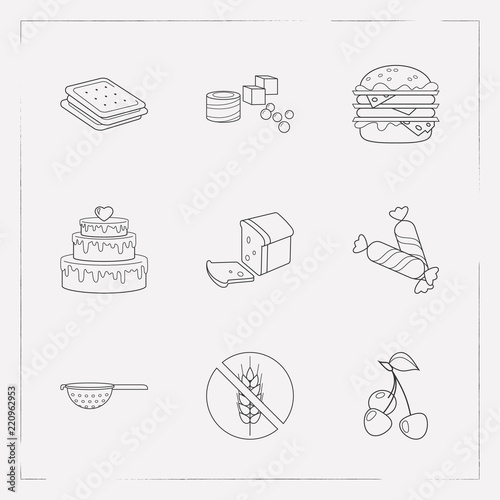 Fotografia, Obraz  Set of pastry icons line style symbols with loaf, cracker, turkish delight and other icons for your web mobile app logo design