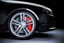 Sports Car Wheel With Red Brak...
