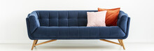 Panorama Of Navy Blue Settee W...