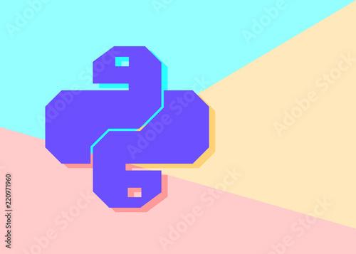 Flat minimalism pastel colored python code icon  Trendy