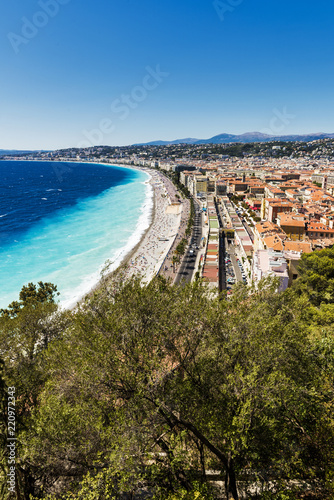 Foto op Canvas Nice A view of the Promenade des Anglais in Nice, France taken from the park Colline du Chateau which offers amazing views of the city.