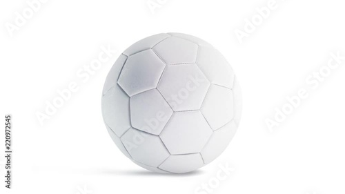 Photo  Blank white soccer ball mockup, front view, looped rotation, 3d rendering