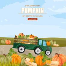 Pumpkins In A Truck Vector. Farm Ville