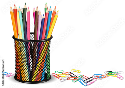 Pencils in a Pot and Colorful Paper Clips on White Ground - Background Illustrat Canvas Print