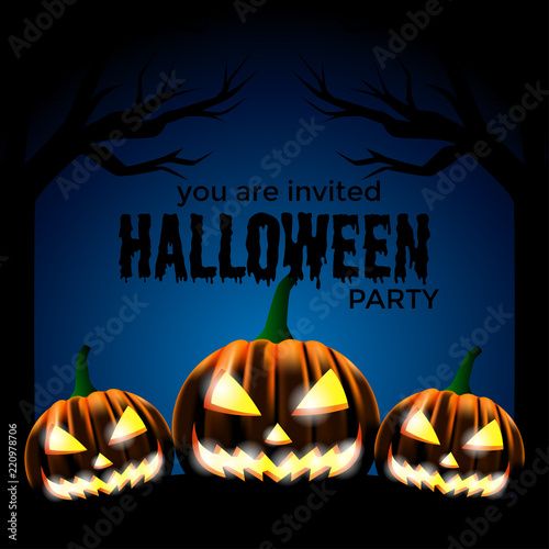 Halloween Party Invitation Template Scary Face Pumpkins At The