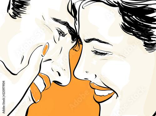 Couple Amour Heureux Dessin 2 3 Couleurs En Vectoriel Main Levee