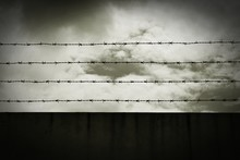 Silhouette Of Barbed Wire - Monochrome Vintage Style