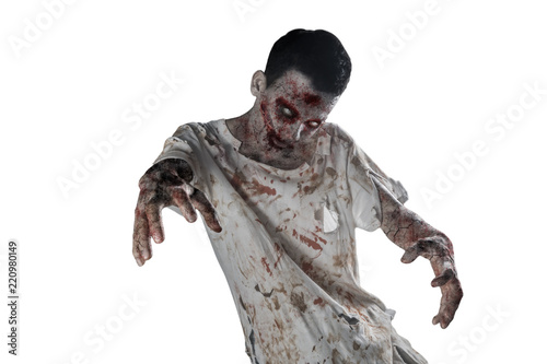 Creepy male zombie with bloody mouth on studio Fotobehang