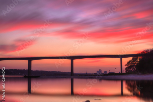 Photo sur Aluminium Corail Vejle Fjord Bridge, Denmark