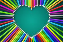 3D Colorful Pencils/ Crayons - Heart Shape