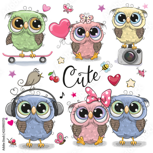 Canvas Prints Owls cartoon Set of cute owls on a white background